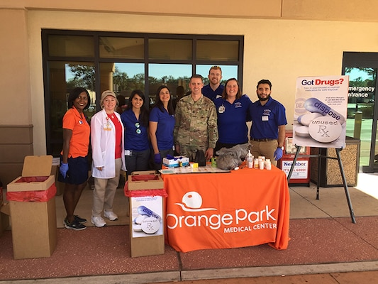 "Capt. Michael Coy with the Florida National Guard's Counterdrug Program conducts a ""Take Back"" event in Orange Park, Florida over the recent weekend."
