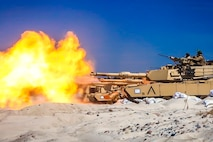 USTKA, Poland (June 8, 2018) U.S. Marines assigned to Tank Platoon, Fox Company, Battalion Landing Team, 2nd Battalion, 6th Marine Regiment, 26th Marine Expeditionary Unit, engage targets with M1A1 Abrams tanks as part during training as part of exercise Baltic Operations (BALTOPS) 2018 at Ustka, Poland, June 8.