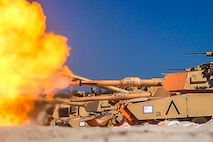 USTKA, Poland (June 8, 2018) U.S. Marines assigned to Tank Platoon, Fox Company, Battalion Landing Team, 2nd Battalion, 6th Marine Regiment, 26th Marine Expeditionary Unit, engage targets with M1A1 Abrams tanks during live-fire training as part of exercise Baltic Operations (BALTOPS) 2018 at Ustka, Poland, June 8.