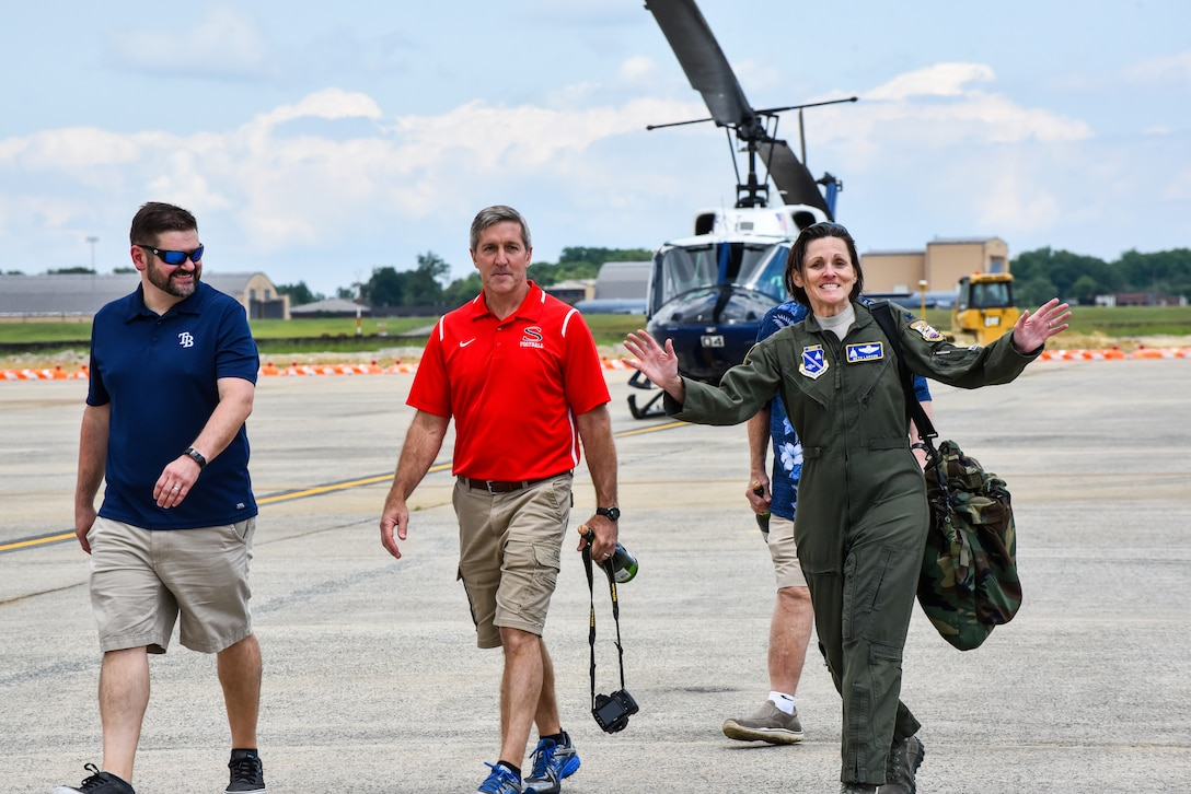 Col. Elizabeth Larson, Air Force District of Washington Operations, Plans and Requirements director, took her final flight aboard the UH-1N Huey helicopter June 6, upon completing nearly 30 years of service.