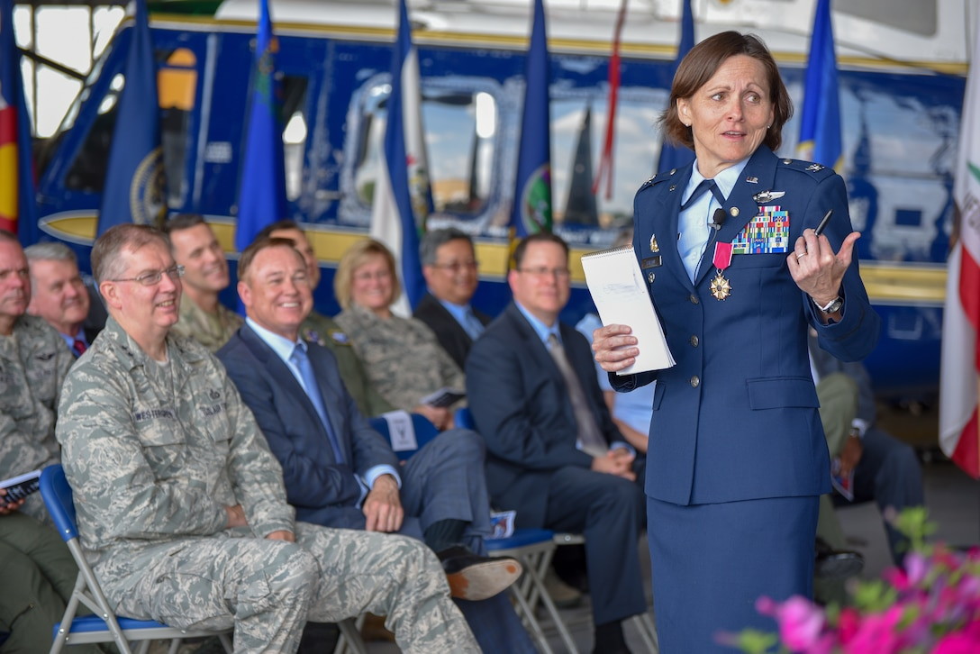 Col. Elizabeth Larson, Air Force District of Washington Operations, Plans and Requirements director, provides remarks during her retirement ceremony June 7, after nearly 30 years of honorable service.