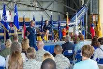 Maj. Gen. James Jacobson, Air Force District of Washington commander, provides remarks during Col. Elizabeth Larson's retirement ceremony June 7.