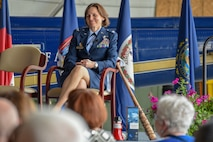 Col. Elizabeth Larson, Air Force District of Washington Operations, Plans and Requirements director, reflects on nearly 30 years of service during her retirement ceremony June 7.