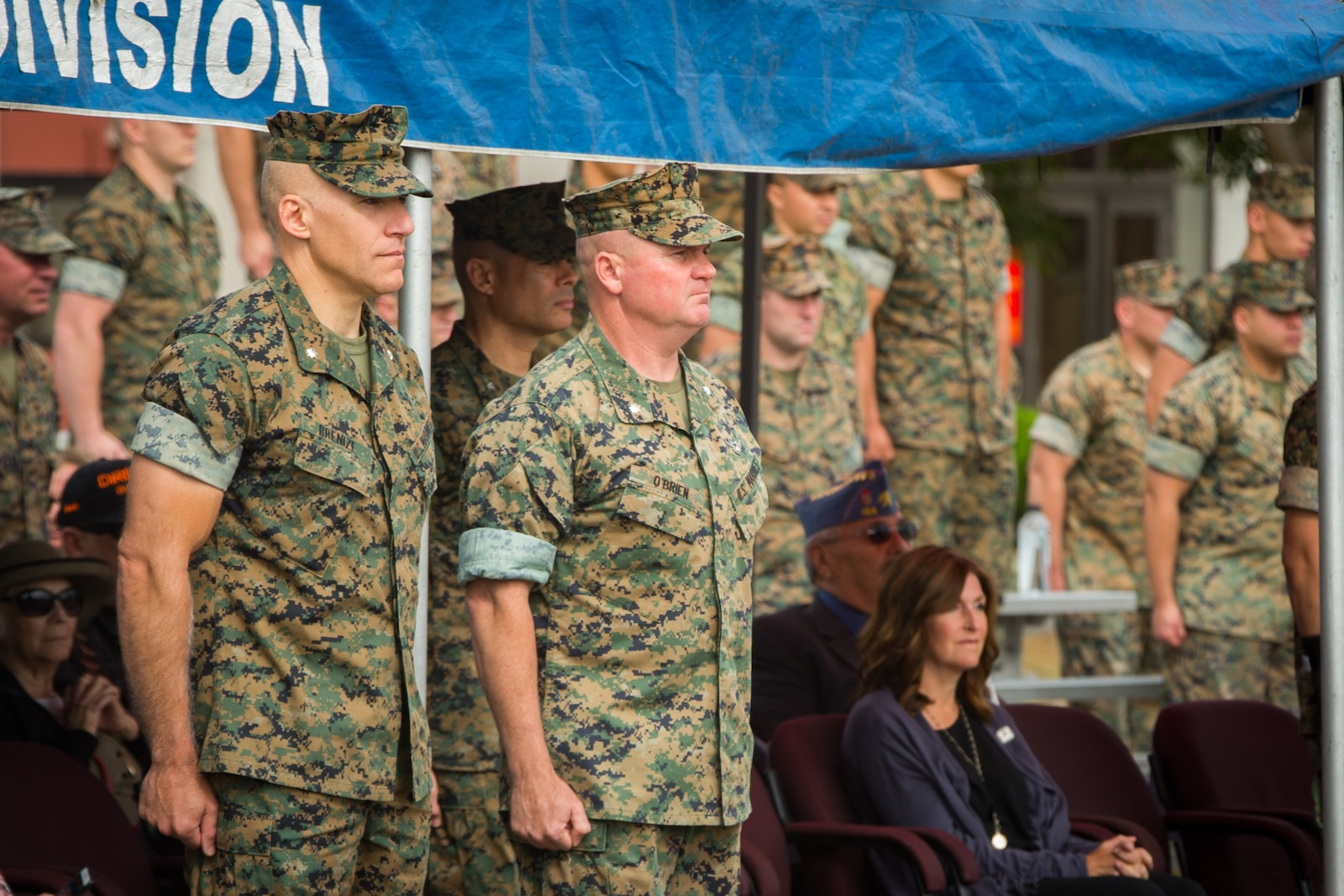U.S. Marine Corps Lt. Col. Keith C. Brenize, left, the oncoming commanding general of 3rd Assault Amphibian Battalion (AABN), 1st Marine Division and Lt. Col. William E. O'Brien, the outgoing commanding general of 3rd AABN, 1st Marine Division, stand for the playing of Waltzing Matilda during a change of command ceremony at Marine Corps Base Camp Pendleton, Calif., June 1, 2018.The ceremony was held in honor of O'Brien, who relinquished his post as 3rd AABN commanding general to Brenize.