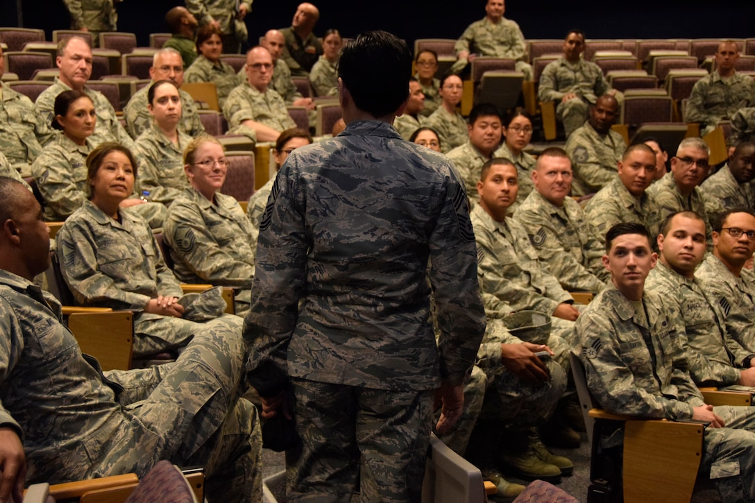 U.S. Air Force Reserve Command Chief Master Sgt. Ericka E. Kelly speaks with members of the 433rd Airlift Wing Top Three and Rising Six June 2, 2018, at Joint Base San Antonio-Lackland, Texas. The missions of these enlisted personnel organizations are to promote professionalism and encourage an attitude of unified purpose throughout the squadron and group personnel. (U.S. Air Force photo by Staff Sgt. Lauren M. Snyder)