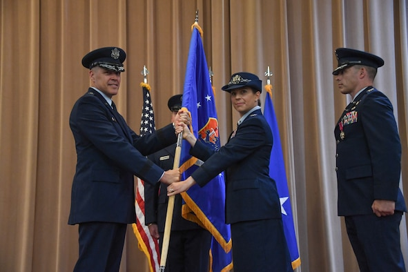 Col. Beth Makros assumes command of the 608th Air Operations Center, during a change of command ceremony at Barksdale Air Force Base, La., June 8, 2018.