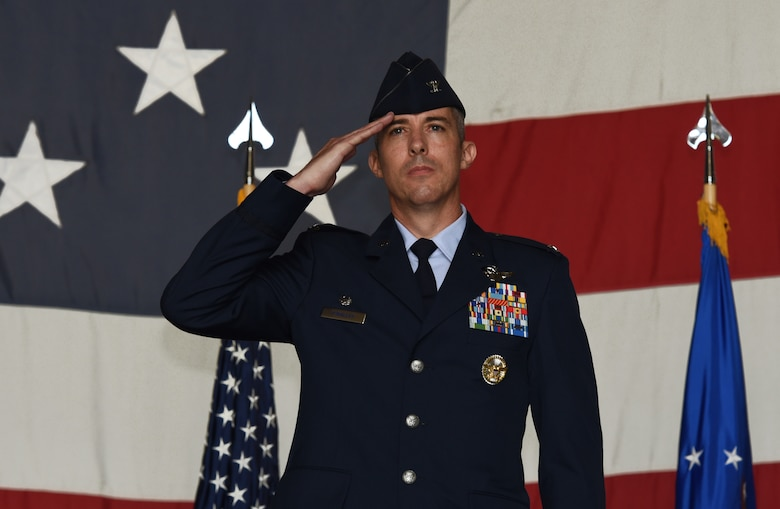 U.S. Air Force Col. Derek O'Malley, 20th Fighter Wing commander, performs his first salute as commander during a change of command ceremony at Shaw Air Force Base, S.C., June, 8, 2018.