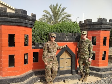 Mentor MAJ Chelsey O'Nan, MED program manager forward and mentee Cadet Samantha Lowdermilk in Kuwait during Lowdermilk's assigned summer cadet leadership training opportunity with the U.S. Army Corps of Engineers (USACE) Middle East District (MED) through the Army ROTC program at the University of Virginia.