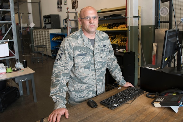 Master Sgt. James Dollinger, is a crew chief for the 167th Aircraft Maintenance Squadron and the 167th Airlift Wing Airman Spotlight for June 2018. (U.S. Air National Guard photo by Senior Master Sgt. Emily Beightol-Deyerle)