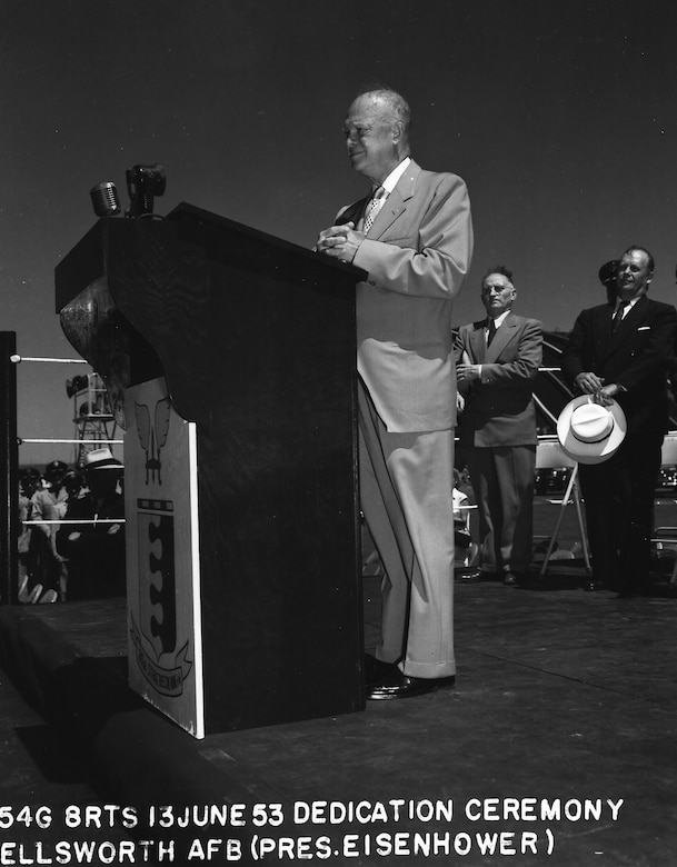 Former President Dwight D. Eisenhowser rechristens then-Rapid City Air Force Base, S.D., to Ellsworth AFB in honor of the former base commander at the base June 13, 1953. Brig. Gen. Richard E. Ellsworth was the 28th Strategic Reconnaissance Wing commander before he was killed in a plane crash March 18, 1953. (Courtesy photo)