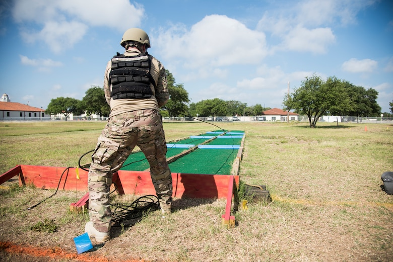 An Explosive Ordnance Disposal member takes part in a fitness study June 5, 2018, at Joint Base San Antonio-Randolph.
