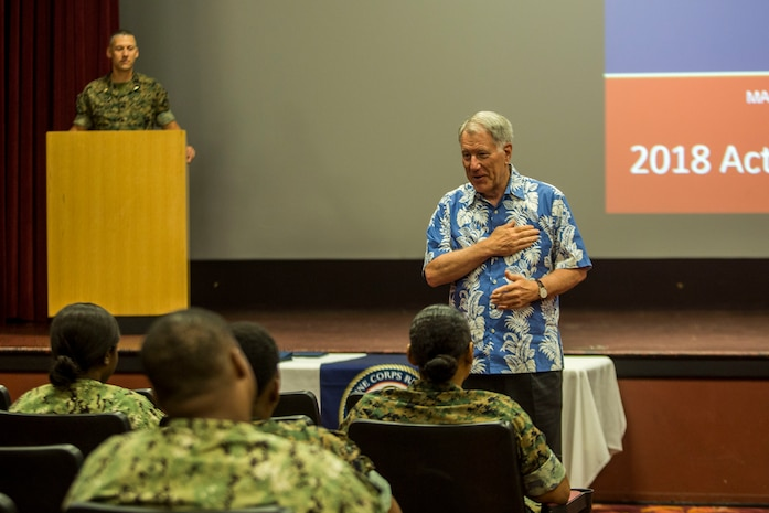 Retired U.S. Navy Adm. Steve Abbot, the president of Navy-Marine Corps Relief Society (NMCRS), speaks to service members and families during the NMCRS Active Duty Fund Drive award ceremony, at the base theater, Marine Corps Base Hawaii, June 11, 2018. The NMCRS provides financial relief to active duty and retired Marines and Sailors as well as their eligible surviving family members through interest-free loans and grants. (U.S. Marine Corps photo by Lance Cpl. Matthew Kirk)