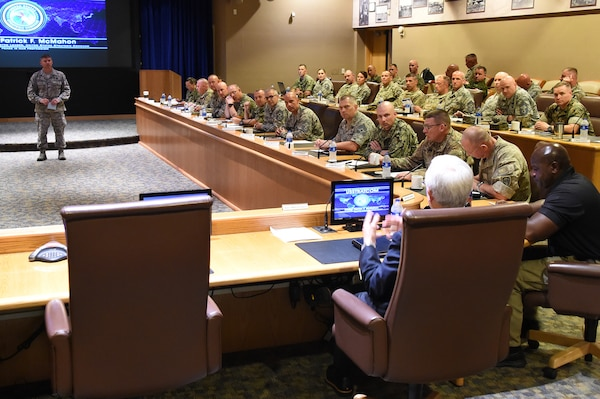 Command senior enlisted leaders (CSELs) from the Army, Air Force, Navy, Marines, Coast Guard and partner nations, participate in discussions during Keystone 18-2 at Offutt Air Force Base, Neb., June 12, 2018. The Keystone course educates CSELs who currently, or will, serve in a general or flag officer-level headquarters. CSELs in the Keystone course visit combatant commands and receive briefings to understand their missions, roles, responsibilities and organizational structures. U.S. Strategic Command has global responsibilities assigned through the Unified Command Plan that include strategic deterrence, nuclear operations, space operations, joint electromagnetic spectrum operations, global strike, missile defense, and analysis and targeting.