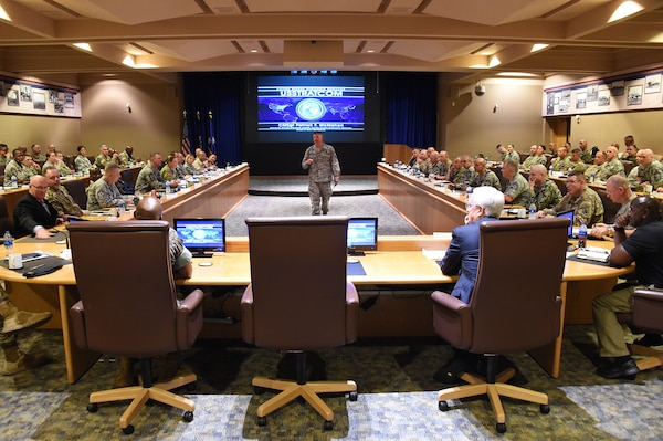 U.S. Air Force Chief Master Sgt. Patrick McMahon, senior enlisted leader of U.S. Strategic Command (USSTRATCOM), briefs Keystone 18-2 participants in the Dougherty Conference Center at Offutt Air Force Base, Neb., June 12, 2018. McMahon discussed USSTRATCOM's missions and capabilities and the importance of mentoring the next generation of command senior enlisted leaders (CSELs). The Keystone course educates CSELs who currently, or will, serve in a general or flag officer-level headquarters. CSELs in the Keystone course visit combatant commands and receive briefings to understand their missions, roles, responsibilities and organizational structures. U.S. Strategic Command has global responsibilities assigned through the Unified Command Plan that include strategic deterrence, nuclear operations, space operations, joint electromagnetic spectrum operations, global strike, missile defense, and analysis and targeting.