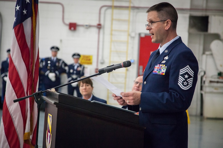 U.S. Air Force Command Chief Master Sgt. Thomas Fredrickson speaks during a change of authority ceremony Oct. 14, 2017 at the 128th Air Refueling Wing,
