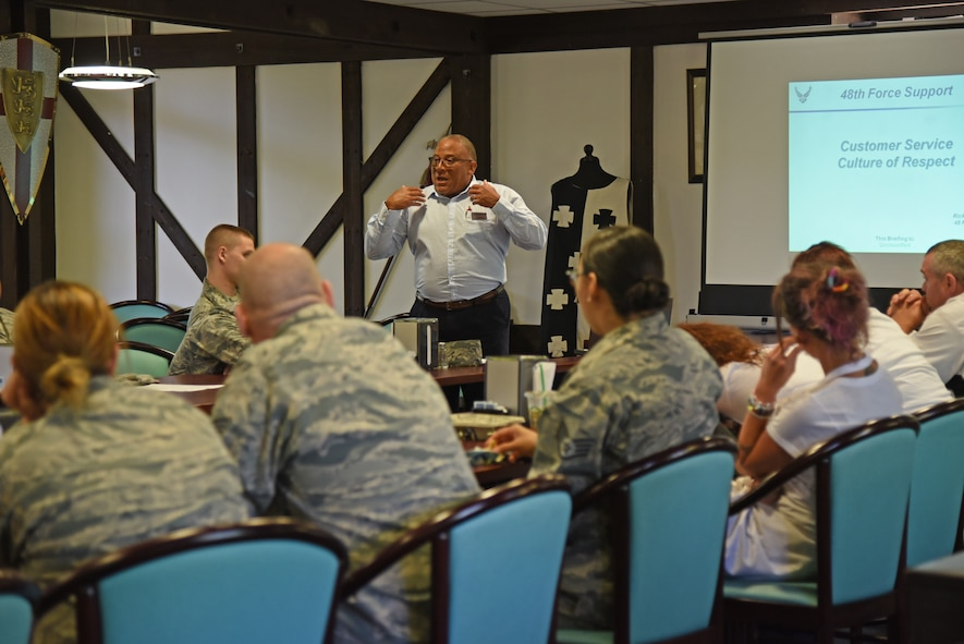 Airmen from the 161st and 48th Force Support Squadrons attend a customer service training course inside the Knights Table dining facility at Royal Air Force Lakenheath, England May 23, 2018. The 161st FSS Airmen spent two weeks training with members of the 48th FSS to gain valuable insight and knowledge of how daily operations are conducted at an overseas air base. (U.S. Air National Guard photo by Staff Sgt. Dillon Davis)