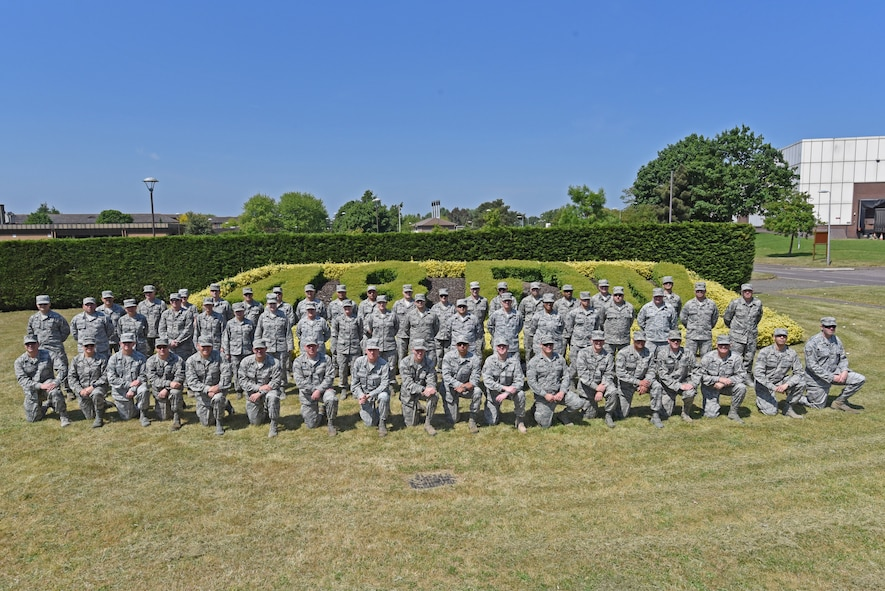 Airmen from the Arizona Air National Guard's 161st Air Refueling Wing pose for group photo at Royal Air Force Lakenheath, England May 24, 2018. The 161st ARW Airmen spent two weeks training alongside their counterparts form the 48th Fighter Wing to improve mission preparedness as well as gain valuable insight into what daily operations consist of while on active duty overseas. (U.S. Air National Guard photo by Staff Sgt. Dillon Davis)