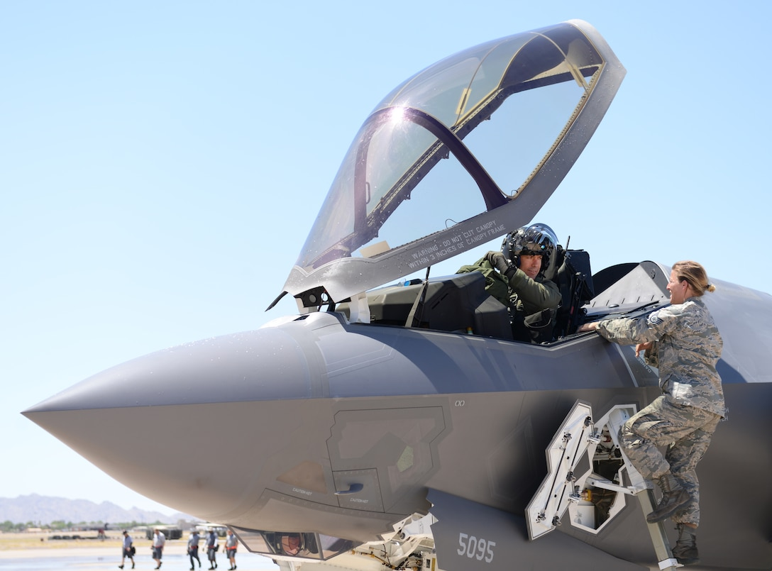 Brig. Gen. Brook Leonard, 56th Fighter Wing commander, prepares to exit his F-35A Lightning II for the final time as commander at Luke Air Force Base, Ariz., June 8, 2018. . Leonard, who has led the F-35 and F-16 training mission at Luke for the past two years, will move on to his next assignment as the deputy commanding general of the Air Combined Joint Forces Component Command in Iraq in the coming weeks.. (U.S. Air Force photo by Senior Airman Ridge Shan)