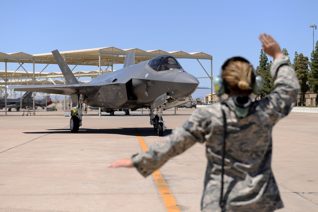 Brig. Gen. Brook Leonard, 56th Fighter Wing commander, taxis his F-35A Lightning II to rest before the celebration of his final sortie at Luke Air Force Base, Ariz., June 8, 2018. Leonard continuously flew sorties as an instructor pilot throughout his time as commander of Luke directly contributing to its mission of building the future of airpower. (U.S. Air Force photo by Senior Airman Ridge Shan)