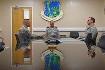 Commanders and enlisted leaders from both the 161st Air Refueling Wing and 48th Fighter Wing meet to talk about overall mission effectiveness during a two-week training exercise hosted at Royal Air Force Lakenheath, England May 31, 2018. The leaders looked at the overall effectiveness of the training exercise and note the positive impacts, as well as possible improvements, to help ensure the success of future missions. (U.S. Air National Guard photo by Staff Sgt. Dillon Davis)