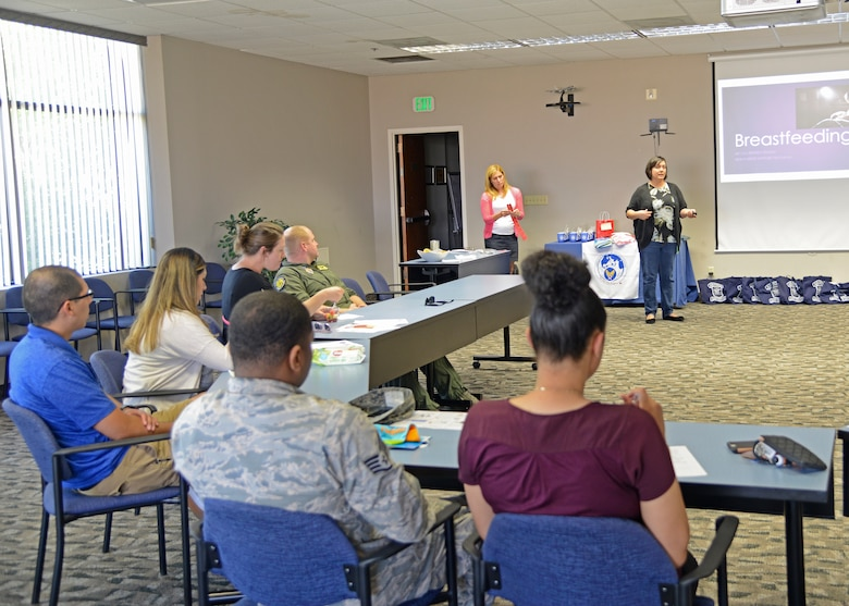 The Airman and Family Readiness Center's Bundles for Babies class prepares new parents with information and resources available to them during and after pregnancy. The class is held quarterly. (U.S. Air Force photo by Laura Motes)