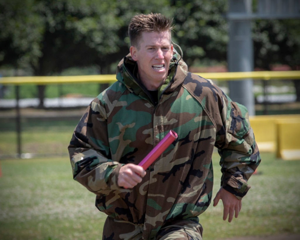 Staff Sgt. Daniel Lanata, 374th Security Forces Squadron patrolman, sprints toward the finish line during an Ability to Survive and Operate (ATSO) Rodeo