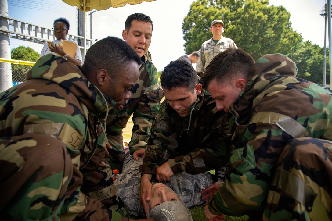 Airmen perform self-aid and buddy care during the training.