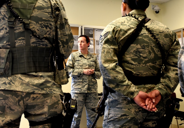 Capt. Malika Moretti, 60th Medical Operations Squadron clinical social worker, visits with 60th Security Forces Squadron members June 11, 2018, at the armory at Travis Air Force Base, Calif. (U.S. Air Force photo/Nick DeCicco)