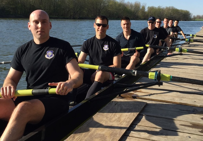 "Members of an Air Force Life Cycle Management Center rowing team, pause before a competition. The group was inspired to form a team by the book 'Boys in the Boat,' which told the story of an ""underdog"" American rowing team that won the 1936 summer Olympics. (Courtesy photo)"