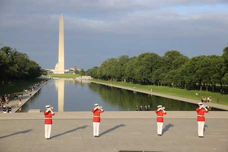 This year is the first year Barracks Marines are hosting Tuesday Sunset Parades at the Lincoln Memorial. The guest of honor for the parade was Secretary of the Interior Ryan Zinke and the hosting official was Robert D. Hogue, counsel for the commandant of the Marine Corps.