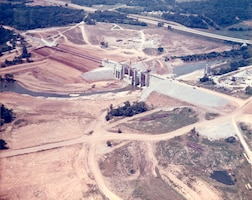 This is an aerial view of J. Percy Priest Dam under construction June 13, 1967 on the Stones River in Nashville, Tenn. The project was dedicated by President Lyndon B. Johnson June 29, 1968. The U.S. Army Corps of Engineers Nashville District, which operates and maintains the dam and reservoir, is celebrating the project's 50th Anniversary at the dam 10 a.m. June 29, 2018. (USACE Photo)