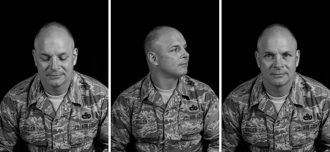 "Master Sgt. Chance Biller sits for a series of portraits for his ""Know Your Military"" interview at the 128th Air Refueling Wing, Mar. 14, 2018."