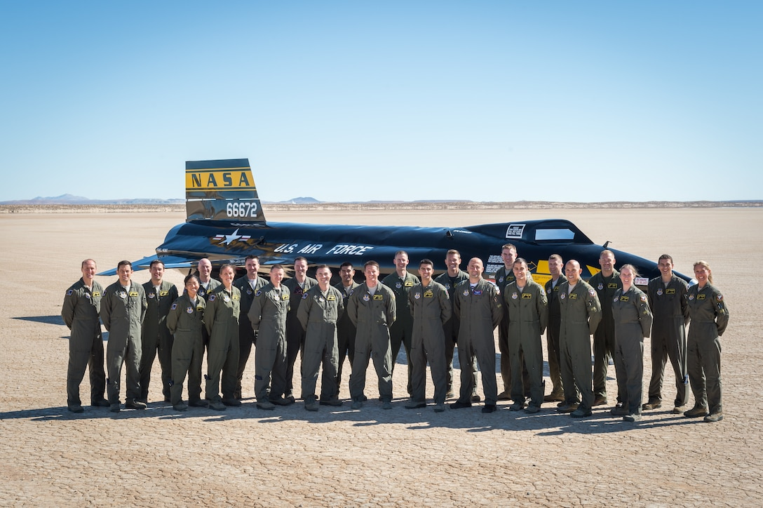 U.S. Air Force Test Pilot School Class 17B poses in front of the X-15 hypersonic rocket plane in March 2018. The class graduated June 8. (U.S. Air Force photo by Kyle Larson)