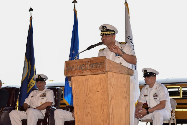U.S. Navy Capt. M. Muzzafar Khan, Joint Base McGuire-Dix-Lakehurst deputy commander and Naval Support Activity commanding officer, gives opening remarks during the 76th Battle of Midway commemoration on Joint Base MDL, N.J., June 5, 2018. The commemoration is a celebration of the victory during World War II June 4-7, 1942, and is considered the turning point during World War II in the seas and air near the South Pacific.