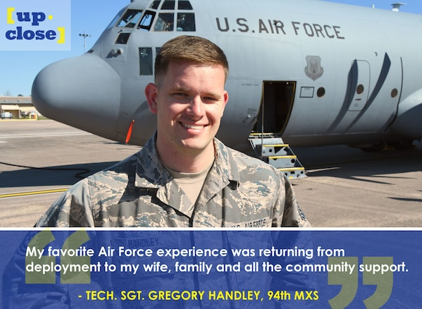 This week's Up Close features Tech. Sgt. Gregory Handley, a 94th Maintenance Squadron crew chief. Up Close is a series spotlighting individuals around Dobbins Air Reserve Base. (U.S. Air Force graphic/Staff Sgt. Andrew Park; photo/Senior Airman Lauren Douglas)