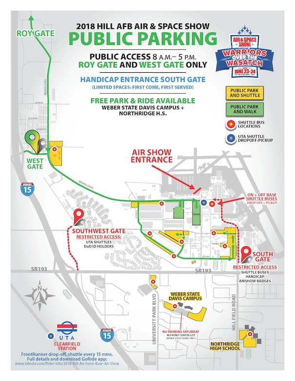 Event organizers are encouraging those planning to attend the Warriors Over the Wasatch Air and Space Show June 23-24, 2018, to use public transportation. Event parking is limited and Utah Transit Authority is offering special round-trip fares on FrontRunner both Saturday and Sunday with bus service running from Clearfield FrontRunner station to and from the show entrance. (U.S. Air Force graphic by David Perry)