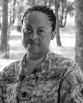 Army Sgt. Maj. Seretta Lawson poses for a photo at the Oklahoma National Guard's Joint Force Headquarters in Oklahoma City, May 7, 2018. Lawson, assigned as the sergeant major for the Oklahoma Army National Guard's military personnel section at the Joint Force Headquarters, is the first African-American female sergeant major in the Oklahoma Army National Guard. Oklahoma National Guard photo by Army Maj. Geoff Legler