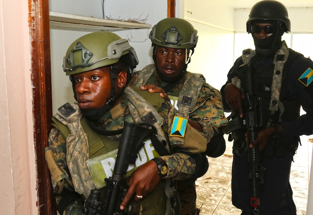 Multinational troops conduct joint training exercise in St. Kitts and Nevis.