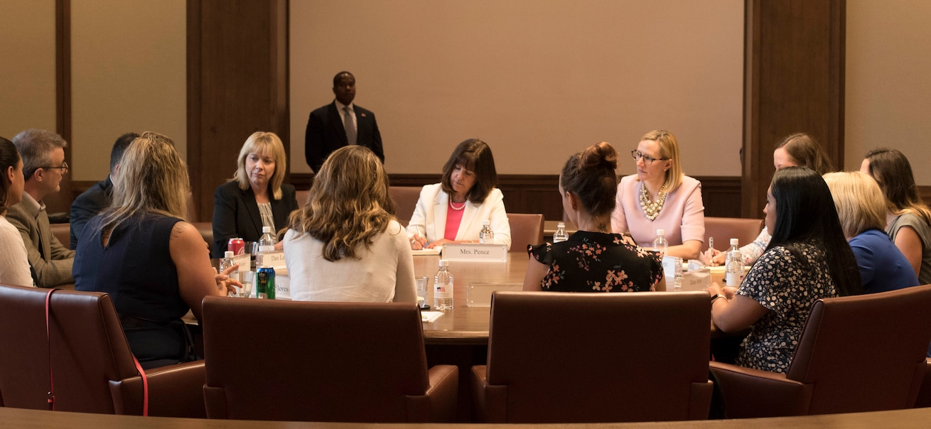 Second Lady Karen Pence speaks with military spouses from all branches about experiences and challenges they face as wives and husbands of service members May 4, 2018, at the George W. Bush Presidential Center, Dallas, Texas. Pence visited other locations to speak with military spouses, including Luke Air Force Base, Arizona, and Yokota Air Base, Japan. (U.S. Air Force photos by Tech. Sgt. Melissa Harvey)