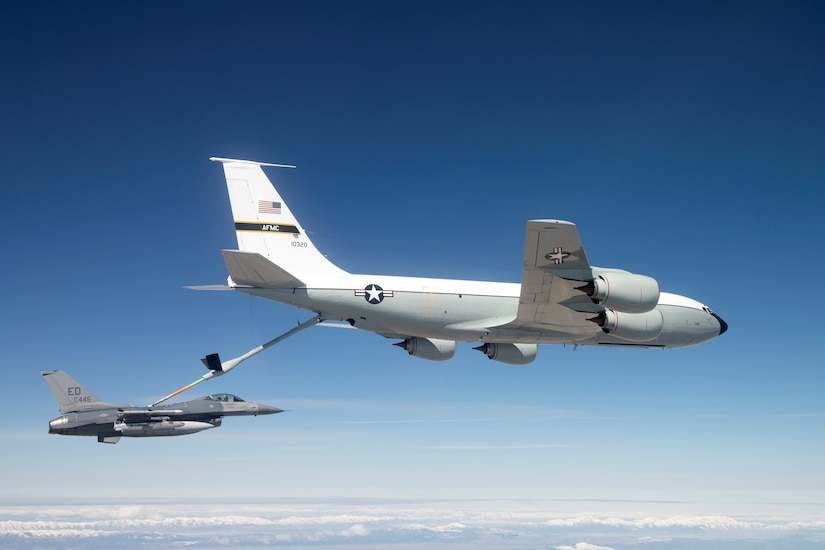 An Edwards KC-135 Stratotanker refuels a U.S. Air Force F-16 Fighting Falcon while it carries a developmental test version of Norway's Joint Strike Missile. When development is complete, the JSM is intended for use aboard the F-35A Lighting II. The 416th Flight Test Squadron recently wrapped up JSM testing. (U.S. Air Force photo by Christian Turner)