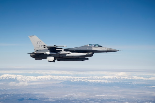 A U.S. Air Force F-16 Fighting Falcon carries a developmental test version of Norway's Joint Strike Missile. The 416th Flight Test Squadron recently wrapped up JSM testing. (U.S. Air Force photo by Christian Turner)