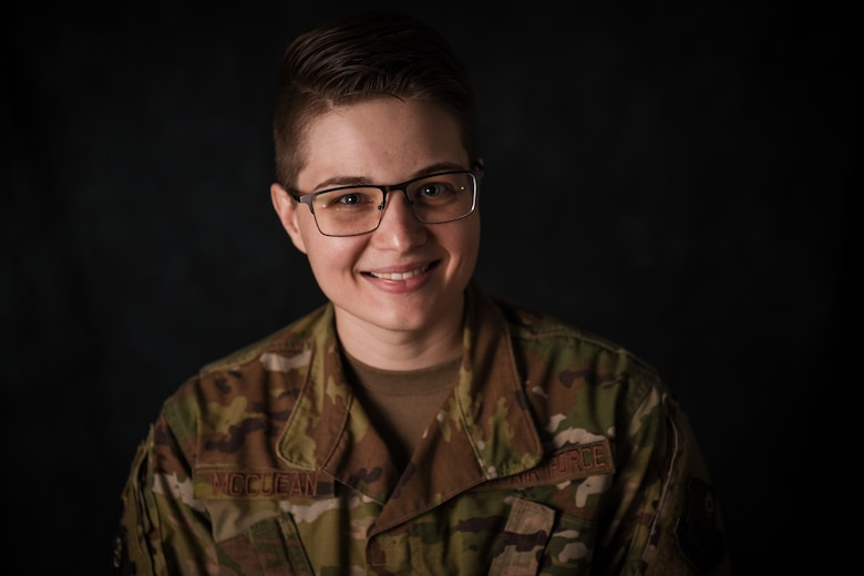 Staff Sgt. Lacey McCuean, a production recruiter and retainer with the 193rd Special Operations Wing, Pennsylvania Air National Guard, poses for a portrait.