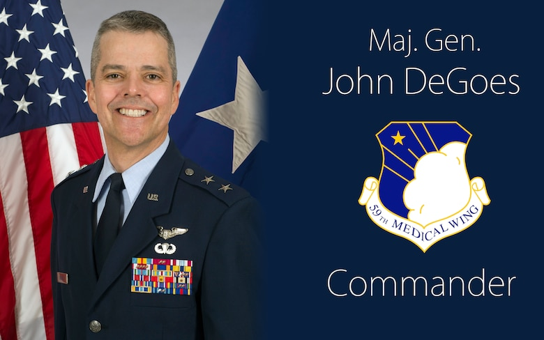 Maj. Gen. John DeGoes took command of the 59th Medical Wing during a ceremony on Joint Base San Antonio-Lackland, June 14. The 59th MDW is the Air Force's premier healthcare, medical education and research, and readiness wing. (U.S. Air Force illustration by Staff Sgt. William Blankenship)