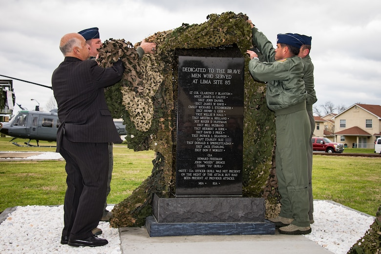 The Air Force Enlisted Heritage Hall marks the 50th Anniversary of Lima Site 85 with a memorial service and a monument unveiling at Heritage Park, Gunter Annex, Mar. 12, 2018. Medal of Honor recipient Chief Master Sergeant Richard Etchberger and his teammates were remembered with a candle lighting ceremony.