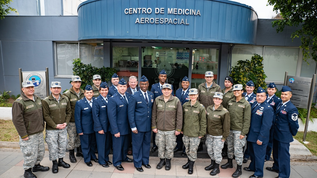 U.S. and Chilean Air Force medical personnel gather for a group photo during a health services administration subject matter expert exchange with the Chilean Air Force at the Hospital Clínico, Santiago, June 4-8.