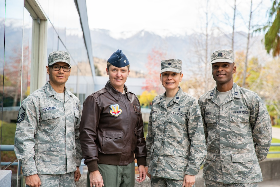 Master Sgt. Diego Yoshisaki, 12th Air Force (AFSOUTH) international health specialist, Davis-Monthan AFB, AZ., Col. Colleen McBratney, 355th Aerospace Medicine Squadron Commander, Davis-Monthan AFB, AZ., Lt. Col. Lisa Guzman, 87th Medical Group medical services administrator, Joint Base McGuire-Dix-Lakehurst, N.J., and Capt. Angelo Bazile, 11th Wing medical services administrator, Joint Base Andrews, MD., pose for a  photo during a health services administration subject matter expert exchange with the Chilean Air Force at the Hospital Clínico, Santiago, June 4-8.