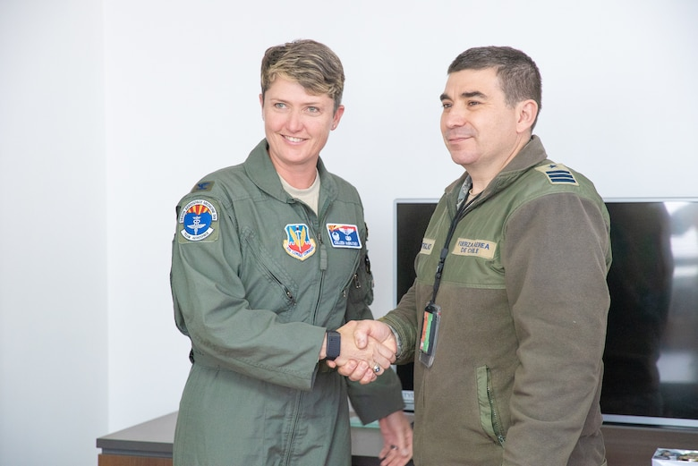 Col. Colleen McBratney, 355th Aerospace Medicine Squadron Commander, Davis-Monthan AFB, Ariz., poses for a photo with Chilean Air Force Commander Claudio Montiglio during a health services administration subject matter expert exchange with the Chilean air rorce at the Hospital Clínico, Santiago, June 4-8. Key U.S. and Chilean air force military health specialists discussed ways to improve medical administration practices, marking the first time this type of exchange has taken place in Chile. (U.S. Air Force photo by Staff Sgt. Danny Rangel)
