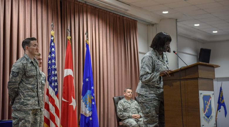 Maj. Francine Kwarteng gives her welcoming speech to the 39th Logistics Readiness Squadron.