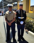 Twins Damien (left) and Daniel (right) Ramirez pose for a photo following their graduation from Marine Corps Recruit Depot San Diego 8 June, 2018. Before answering the call to service, both brothers earned a living as Mixed Martial Arts fighters. Daniel's strong inclination toward leadership, along with his superior fitness, rifle qualifications and test scores, earned him the title of Company Honor Graduate and a meritorious promotion to the rank of lance corporal.