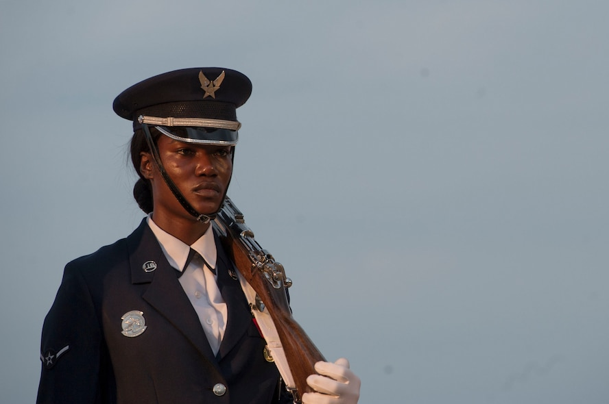 "A U.S. Air Force Ceremonial Guardsman prepares to present the colors during the Heritage to Horizons concert at the Air Force Memorial in Arlington, Va., June 8, 2018. The theme was ""You Are Not Forgotten,"" paying tribute to those who fought, died and were captured or are still missing while defending American and America's freedoms. (Photo by Senior Master Sgt. Adrian Cadiz)"